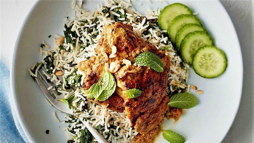 پلو اسفناج یک غذای سنتی و مقوی